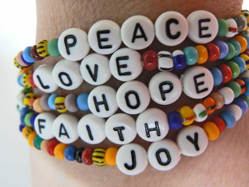 Words to Live By JOY PEACE LOVE Hope Faith Beaded Bracelets image 0