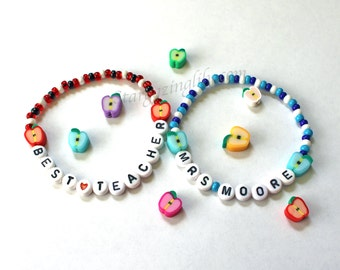 THANK YOUR TEACHER Teacher Gifts End of the year thank-you Apple beads and personalized message school colors