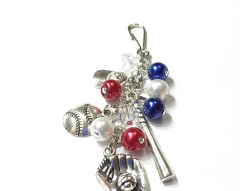 Baseball Themed Bag charm, zipper pull, key ring, bookmark. YOU CHOOSE the team COLORS. Baseball Charms. Pearl & Crystal Beads