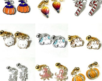 Halloween, Christmas, Cat clip on earrings for kids & adults. Pumpkin, jack-o'-lantern, skeleton, candy cane, octopus, kitty cat kitten.