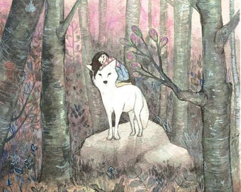 Lone Wolf and Cub - a giclee print - artwork by Ann Whim Tseng