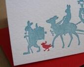 animal parade, set of six letterpress holiday cards