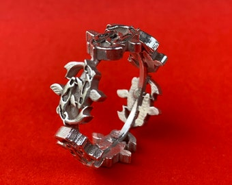 Sterling Silver Ring with  Koi Swimming