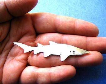 Silver Grey Nurse Shark Brooch