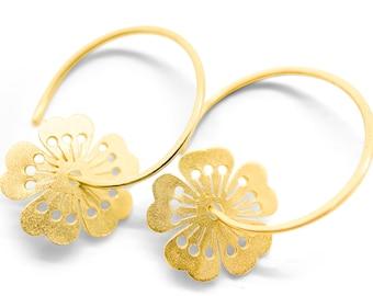 Little sakura flowers on tiny hoops