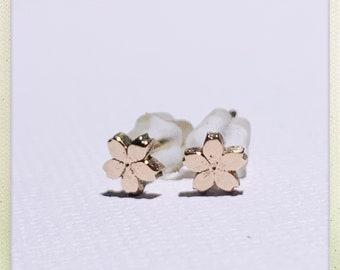 Tiny Sakura Flower #4 Stud Earrings in Rose Gold