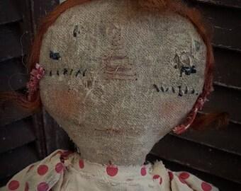 MUSTARD SEED ORIGINALS, Extremely Primitive, Primitive, Raggedy Ann. Old Rag, Cloth Doll by Folk Artist Sharon Stevens