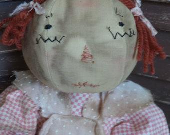 EXTREMELY PRIMITIVE, Mustard Seed Originals, Raggedy Ann, Pink, Heart, Cloth, Rag Doll, Vintage, Doll by Prim Folk Artist Sharon Stevens