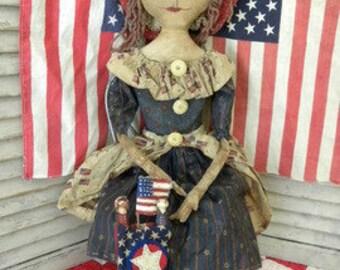 MUSTARD SEED ORIGINALS, Patriotic, Extremely Primitive, Rag Doll, Americana, Red, White, Blue, Doll, Pattern by Folk Artist Sharon Stevens