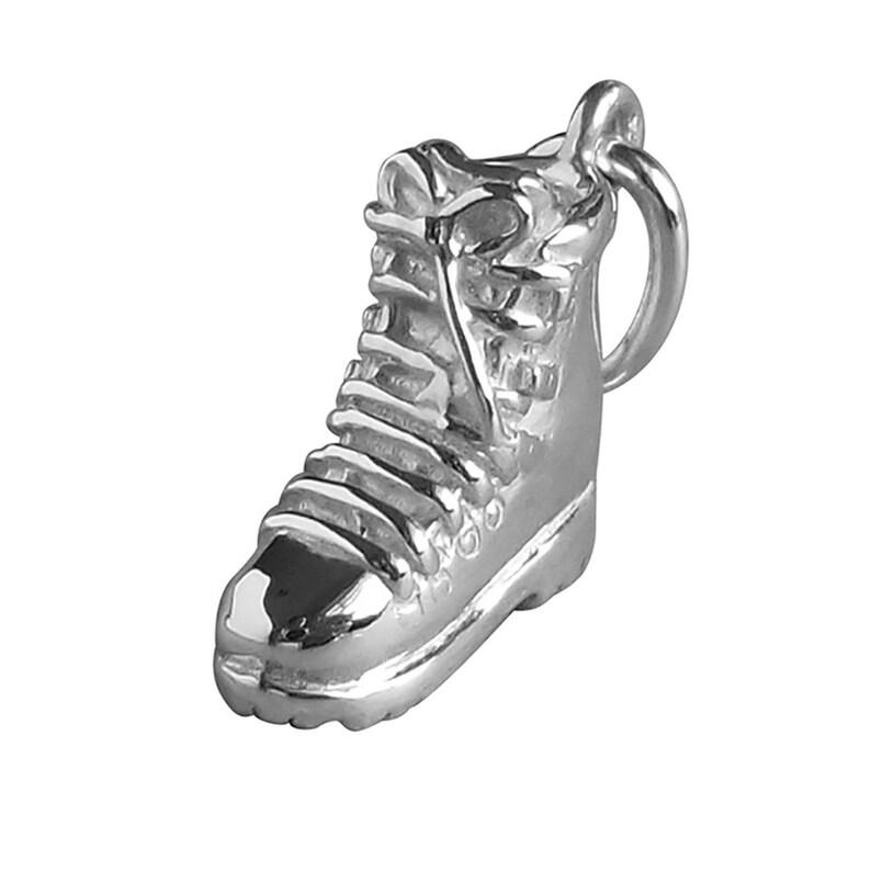 Hiking Boot Charm Sterling Silver Pendant Solid .925 Walking Rambling Hike Footwear Pendant