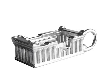 Parthenon Charm Sterling Silver Pendant Solid .925 Ancient Greek Temple Ruins Athens Greece