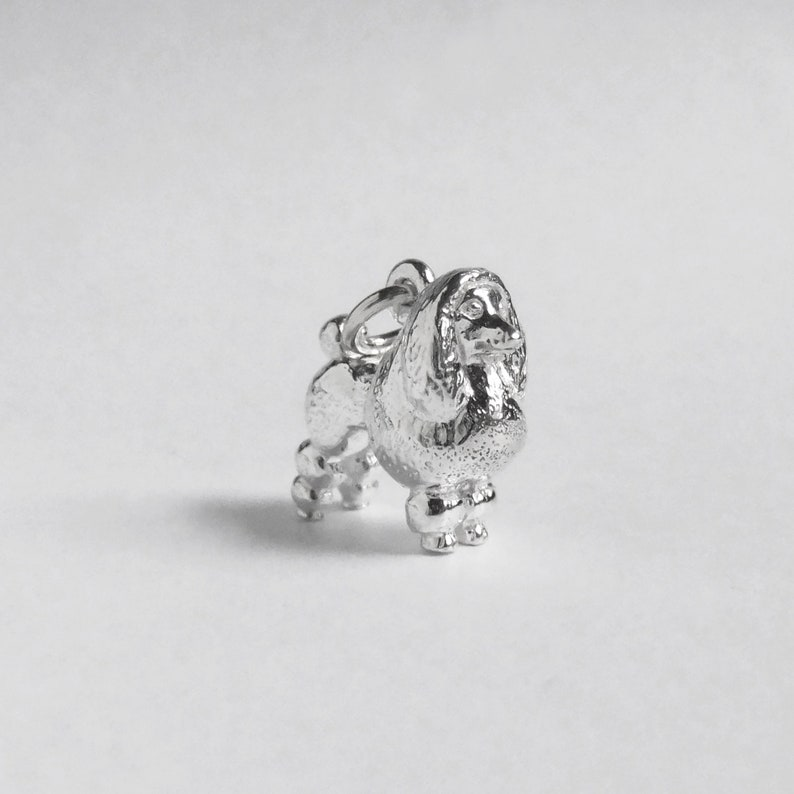 Poodle Dog Charm Sterling Silver Solid .925 Pendant