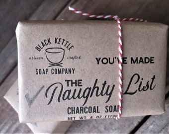 Holiday packaging COAL FACE The Naughty List Soap