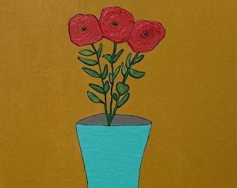 SALE: Original Floral Painting, Red Flowers With Teal Vase