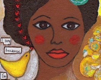 SALE: African American Woman Art Poster, 8 x 10 inches