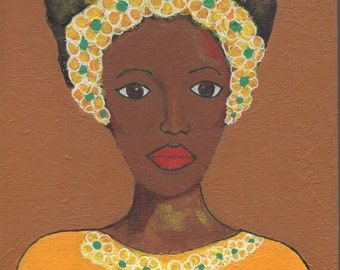 SALE: Small African American Woman Painting, Yellow Teal, Canvas Wall Art