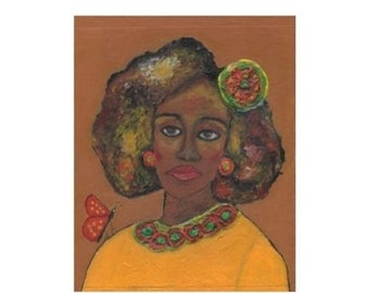 SALE: Afrocentric Small Painting, Woman with Butterfly Art, Yellow Teal Red, Canvas Wall Art