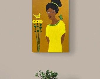 SALE: Large Afrocentric Art, Yellow Teal, Flowers Bird Butterfly Art, Surreal Art