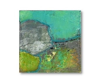 SALE: Mixed Media Canvas, Art And Collectibles, Acrylic Home Decor, Orginal Abstract Art Painting, Small Wall Decor 6 x 6 inches