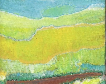 SALE: Small Wall Decor,  Orginal Abstract Art Landscape Painting, 6 x 6 inches