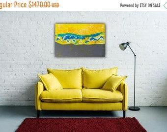 SALE: Large Abstract Painting, Yellow Gray Teal