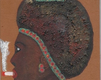 SALE: Smoking Lady,  African American Woman Art, Small Wall Decor, Orginal Painting, Black Queen, 5 x 7 inches