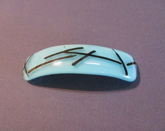Fused Blue with Black Stringers on Clear Glass Barrette