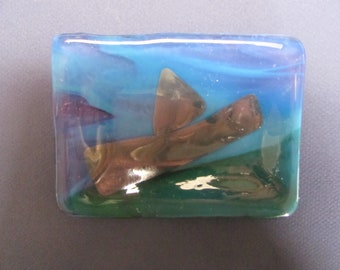 Blue, Grey and Green Glass Soap Dish