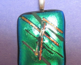 Fused Turquiose  Dichroic and Red and Grey stringers Glass Pendant