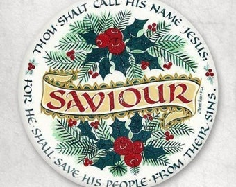 Thou Shalt Call His Name Jesus Buttons Christmas Party Favors SET OF 5 PINS