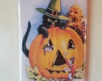 Vintage Halloween Postcard image on Gift Magnet