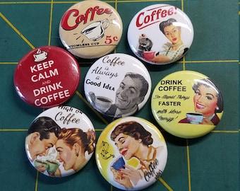 Set of 7 Mini Retro Coffee Buttons