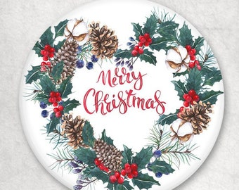 Party Gifts Merry Christmas Set of 5 pin back buttons