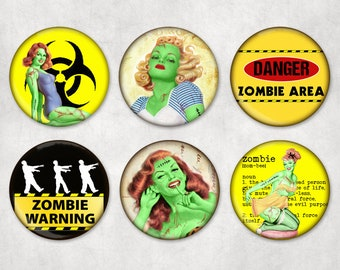 Set of 6 Zombie Pin-up Girls Magnets or Pins