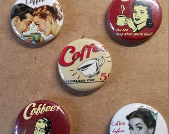 Set of 5 Retro Coffee Pin Back Buttons