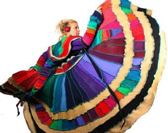 Recycled Sweater Coat- Rainbow Kaleidoscope Swirl  TUTORIAL
