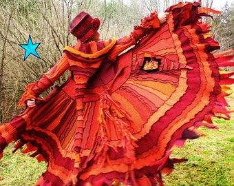 Recycled Sweater Coat PATTERN by Katwise -Red Orange Fire Phoenix