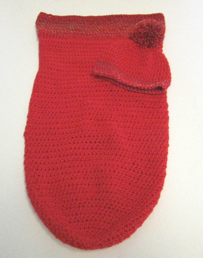 Crochet knit Infant Sleeping Bag Red Baby Bunting Wearable Blanket OOAK Baby Shower Gift Bassinet Crib Sleep Sack Bag Swaddling Set