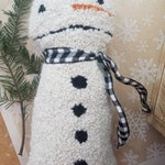 christmas cheer...punch needle pillow...snowman charlie