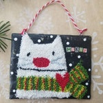 christmas cheer...punch needle and papier mache ornament...small wallhanging...merry murray