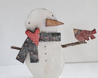 snowman and cardinal paper sculpture...winter friends