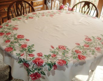 Vintage Tablecloth Red Pink Roses Green Leaves Taupe Shadowing 51 x 61 inches