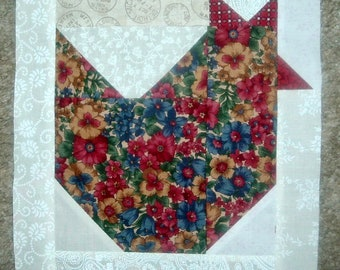 Set of  12 Already  Pieced Scrappy Chickens Hens Quilt Blocks Presewn 9 x 9 inches