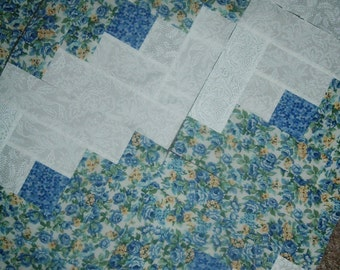 Last Set of 18 Presewn  Quilt Blocks Log Cabins Blue Yellow Florals 9.5 inches