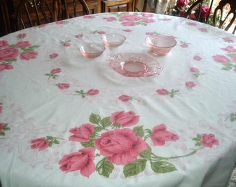 Vintage Tablecloth Pink Roses 55 x 61 inches Round Oval