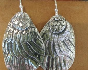 Fine Silver Angel Wing Earrings with Take Flight Written on Back