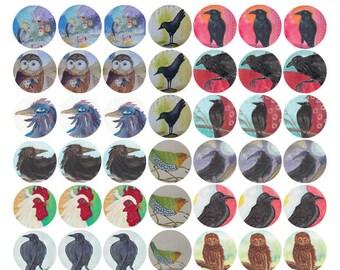 Bird stickers, with crows, decorate journals, envelopes,notecards, Carolk original art