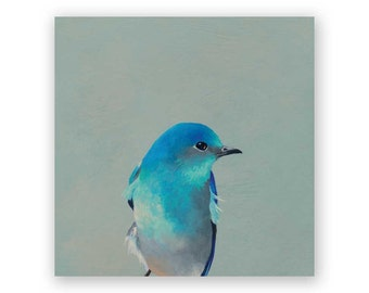 Mountain Bluebird - 6 x 6 Wings on Wood Decor