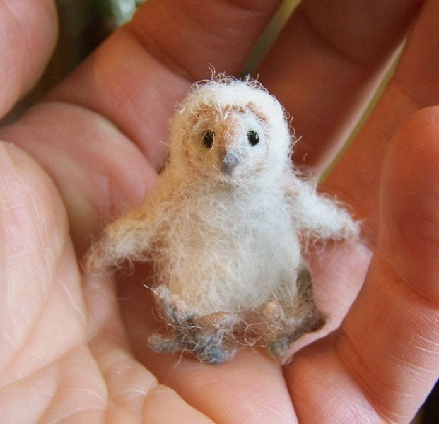baby barn owl Little wee felted pet critter | Etsy