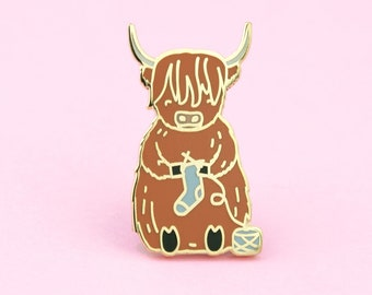 Scottish Highland Cow Knitting Pin | cow lapel pin, highland cow pin, knitting pin, knit pin, yarn lapel pin